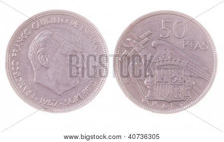 vintage 1957 Francisco Franco era 50 Pesetas coin isolated on white