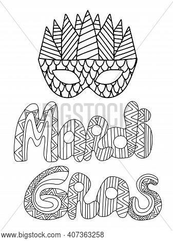 Mardi Gras Poster With Venetian Mask Stock Vector Illustration. Zen  Art Words Mardi Gras And Mask C
