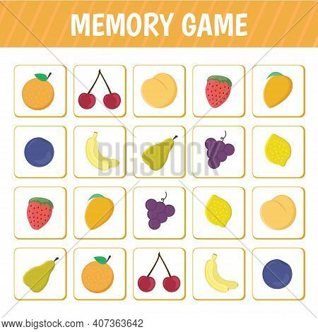 Memory Game For Children. Educational Game For Mindfulness With Cards With Fruits. Vector Illustrati
