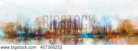 Illustration Painting Colorful Autumn, Summer Season Nature Background. Abstract Art Image Of Forest