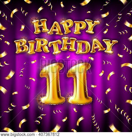 11 Happy Birthday Message Made Of Golden Inflatable Balloon Eleventh Letters Isolated On Pink Backgr