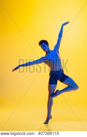 Birds Freedom. Young And Graceful Ballet Dancer On Yellow Studio Background In Neon Light. Art, Moti