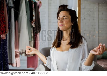 Woman Meditating In Dressing Room Feeling Harmony Balance Preparation To Event Or Meeting