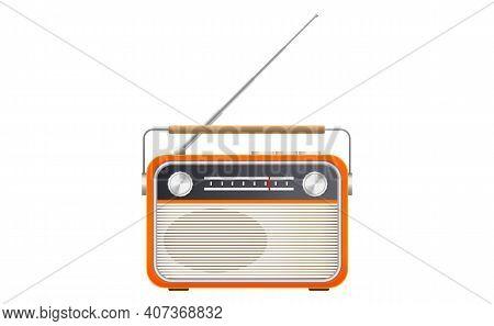 Vector Illustration Of Retro Style Orange Radio On White Background