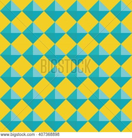 Vector 3d Pyramid Shaped Stud Seamless Pattern Background. Blue Shaded Studded Diamond Triangles On