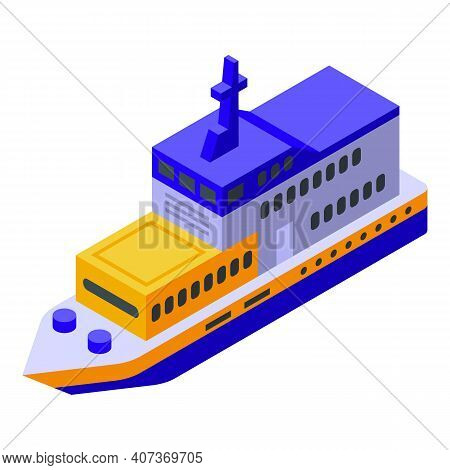 Ferry Steamer Icon. Isometric Of Ferry Steamer Vector Icon For Web Design Isolated On White Backgrou