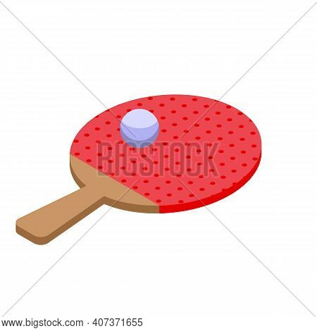 School Gym Ping Pong Pad Icon. Isometric Of School Gym Ping Pong Pad Vector Icon For Web Design Isol