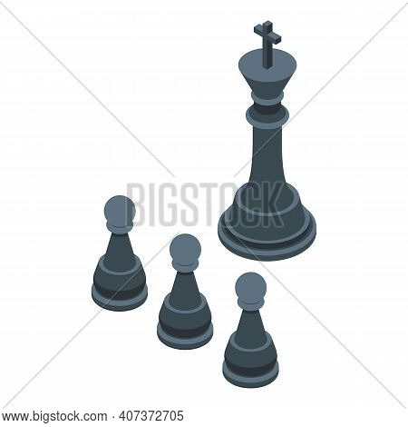 Hierarchy Chess Icon. Isometric Of Hierarchy Chess Vector Icon For Web Design Isolated On White Back