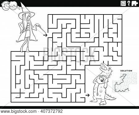 Black And White Cartoon Illustration Of Educational Maze Puzzle Game For Children With Girl And Boy
