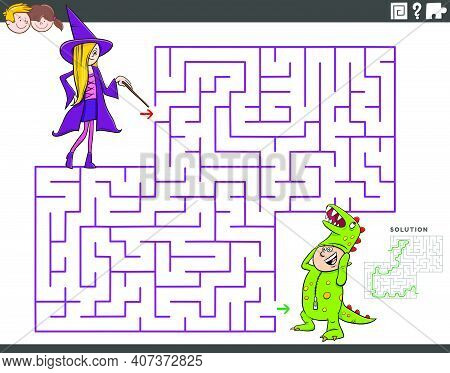 Cartoon Illustration Of Educational Maze Puzzle Game For Children With Girl And Boy At Costume Party