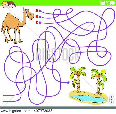 Cartoon Illustration Of Lines Maze Puzzle Game With Dromedary Camel Animal Character And Oasis