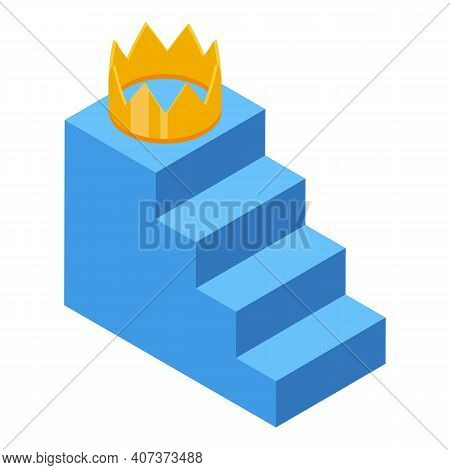 Stairs Hierarchy Icon. Isometric Of Stairs Hierarchy Vector Icon For Web Design Isolated On White Ba