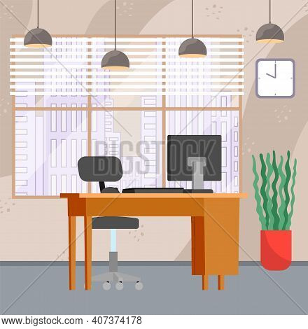 Design Of Modern Workplace. Creative Office With Big Window, Desktop, Monitor And Furniture. Design