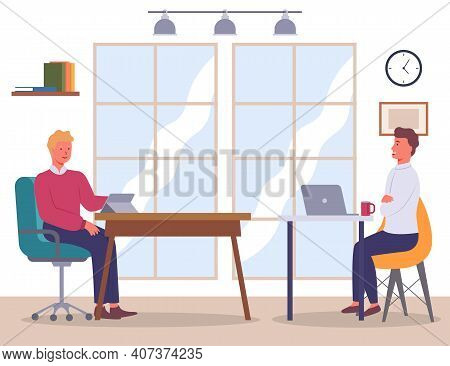Business Negotiations. Businesspeople Sitting In Armchairs. Office Room Interior. Male Investor Talk