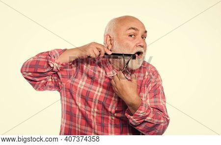 Cut Beard. Grooming Beard. Barbershop Concept. Man Senior Bearded Handsome Grandpa Use Tool Styling