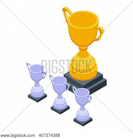 Cups Hierarchy Icon. Isometric Of Cups Hierarchy Vector Icon For Web Design Isolated On White Backgr