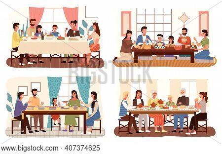 Set Of Theme Of People Having Family Dinner In Traditional Styles Of Countries Of World. Cartoon Cha
