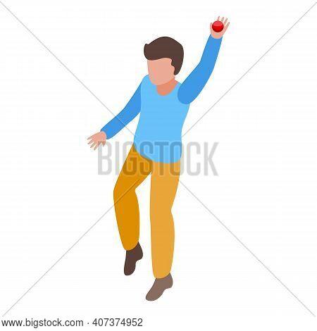 Kid Catch Cricket Ball Icon. Isometric Of Kid Catch Cricket Ball Vector Icon For Web Design Isolated