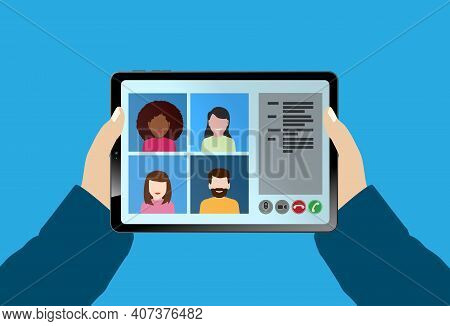 Hands Of Person Holding Tablet Computer With Video Conference Call Vector Illustration