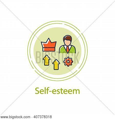 Self Esteem Building Concept Line Icon. Personal Growth Concept. Self Improvement And Self Realizati