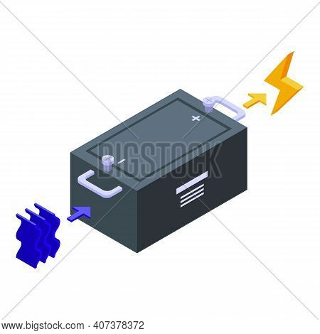 Hydro Power Battery Icon. Isometric Of Hydro Power Battery Vector Icon For Web Design Isolated On Wh