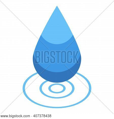 Hydro Power Drop Icon. Isometric Of Hydro Power Drop Vector Icon For Web Design Isolated On White Ba