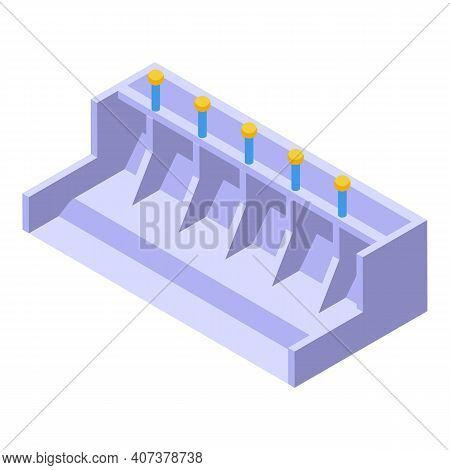 Hydro Power Station Icon. Isometric Of Hydro Power Station Vector Icon For Web Design Isolated On Wh