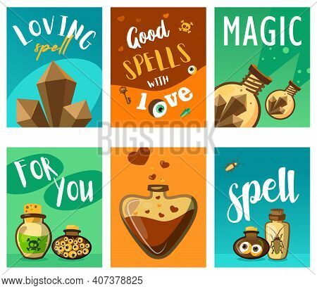 Bright Leaflet Designs With Magic Ingredients. Colored Potions And Loving Spells In Different Glass