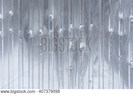 Dent Steel Metal Fence Full Screen Image.