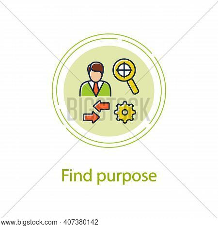 Find Purpose Concept Line Icon. Personal Growth Concept. Catch Out Goals. Self Improving. Life Purpo