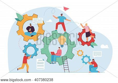 Teamwork And Engineering Vector Illustration. Company Staff Moving Gear Mechanism Together, Using La