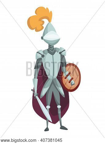 Medieval Kingdom Character Of Middle Ages Historic Period Vector Illustration. Medieval Knight In Fu