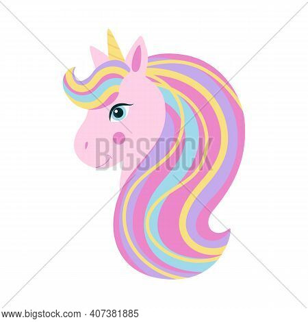 Pink Unicorn Head With Rainbow Mane And Yellow Horn. Cute Fantasy Unicorn, Fairytail For Baby. Vecto