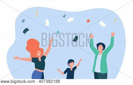 Happy People Throwing Up Facial Masks. Virus, Victory, End Flat Vector Illustration. Pandemic And Pr