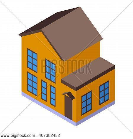 Town House Icon. Isometric Of Town House Vector Icon For Web Design Isolated On White Background