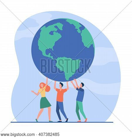 Tiny People Holding Globe Together And Smiling. Earth, Team, Planet Flat Vector Illustration. Enviro