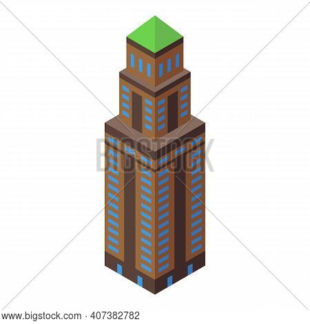 Business Skyscraper Icon. Isometric Of Business Skyscraper Vector Icon For Web Design Isolated On Wh