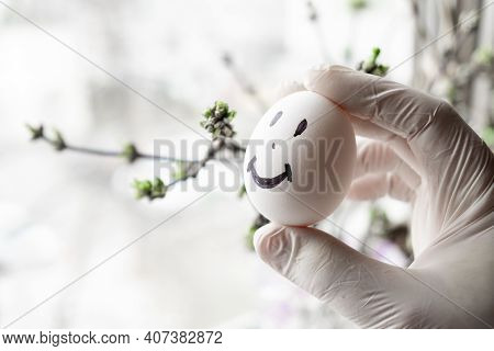 Urology Concept. Male Problems, Infertility, Decreased Testosterone. Chicken Eggs In Hand With A Joy