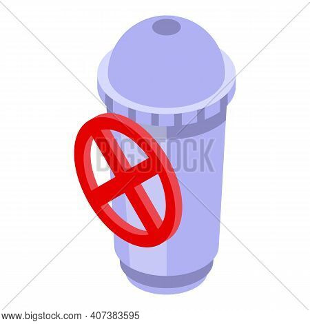 Banned Plastic Glass Icon. Isometric Of Banned Plastic Glass Vector Icon For Web Design Isolated On
