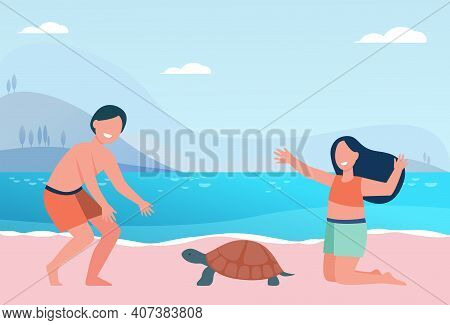 Happy Cute Kids Playing With Turtle On Beach. Water, Holiday, Swimsuit Flat Vector Illustration. Ent
