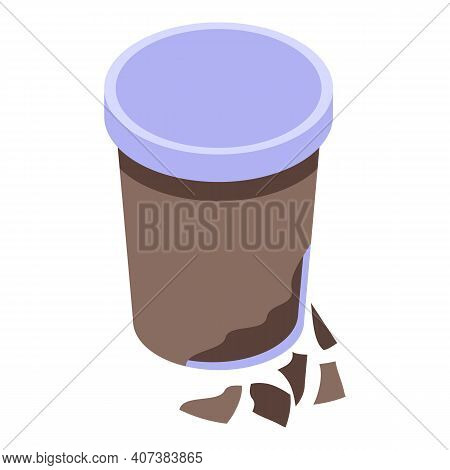 Biodegradable Coffee Glass Icon. Isometric Of Biodegradable Coffee Glass Vector Icon For Web Design