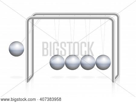 Newtons Cradle Pendulum With Iron Ball In Motion, Momentum, Energy. Physical Experiment. Isolated Ve