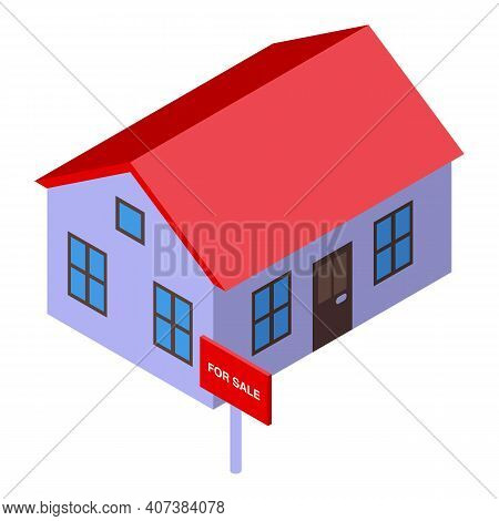 Estate Agent House Icon. Isometric Of Estate Agent House Vector Icon For Web Design Isolated On Whit