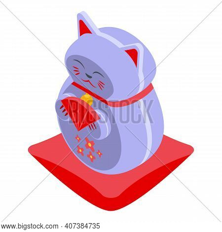 Chinese Lucky Cat Icon. Isometric Of Chinese Lucky Cat Vector Icon For Web Design Isolated On White
