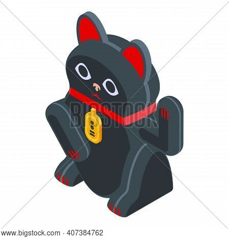 Asian Lucky Cat Icon. Isometric Of Asian Lucky Cat Vector Icon For Web Design Isolated On White Back