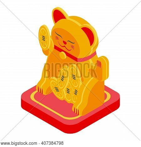 Japan Lucky Cat Icon. Isometric Of Japan Lucky Cat Vector Icon For Web Design Isolated On White Back
