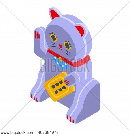 Talisman Lucky Cat Icon. Isometric Of Talisman Lucky Cat Vector Icon For Web Design Isolated On Whit