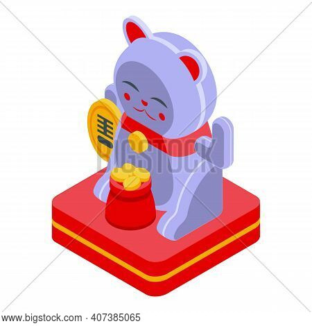 Oriental Lucky Cat Icon. Isometric Of Oriental Lucky Cat Vector Icon For Web Design Isolated On Whit