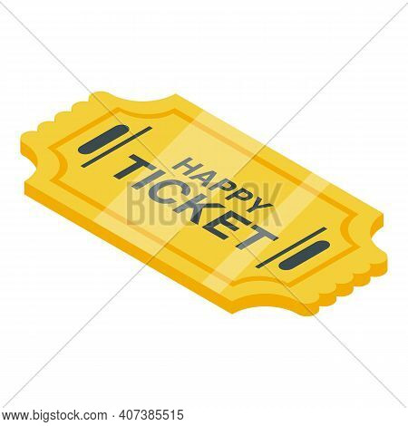 Lucky Ticket Icon. Isometric Of Lucky Ticket Vector Icon For Web Design Isolated On White Background