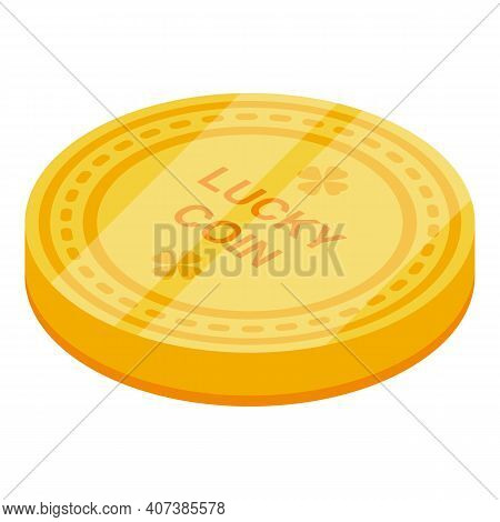 Lucky Coin Icon. Isometric Of Lucky Coin Vector Icon For Web Design Isolated On White Background